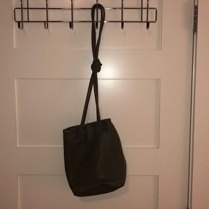 Olive green pebble bucket bag with straps